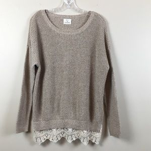 Anthropologie | Cream Lace Long Sleeve Sweater XS